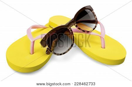 Yellow Sun Sunglasses Glasses Flip Flops Leisure