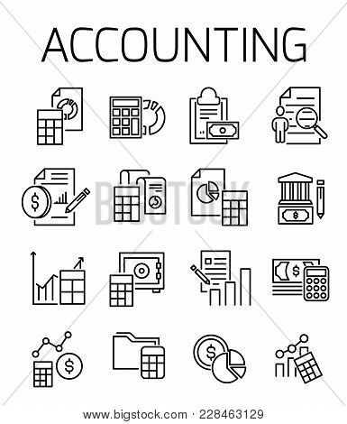 Accounting Related Vector Icon Set. Well-crafted Sign In Thin Line Style With Editable Stroke. Vecto