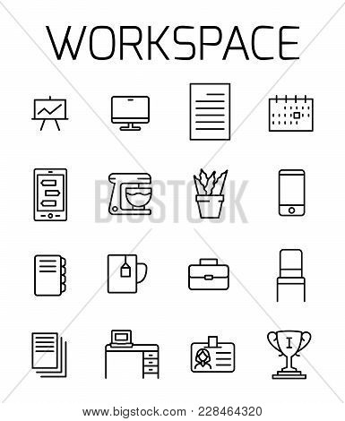 Workspace Related Vector Icon Set. Well-crafted Sign In Thin Line Style With Editable Stroke. Vector