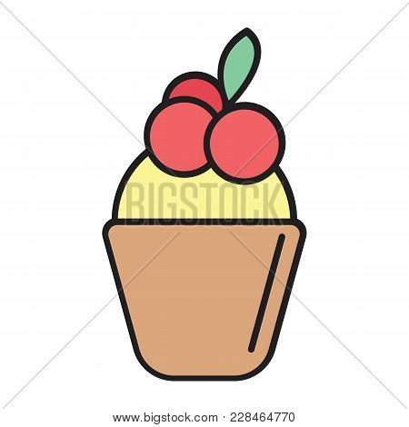 Sweet Cake Cartoon Icon . Sweet Cake Vector Illustration On White Background. Element For Food Sweet