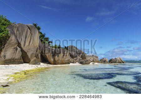 Rocks,white Sand,palms,turquoise Water At Tropical Beach,la Dique,seychelles Paradise 7