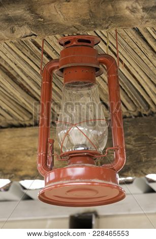 Wooden Material Handcrafted In Saudi Arabia, With Old Lantern