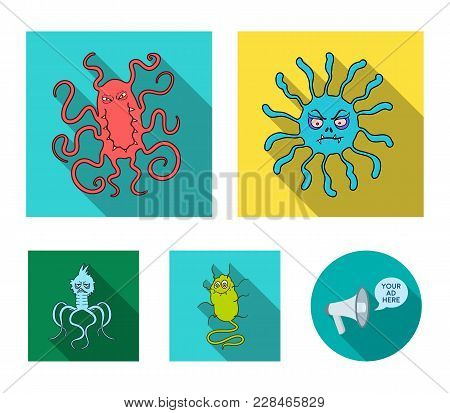 Different Types Of Microbes And Viruses. Viruses And Bacteria Set Collection Icons In Flat Style Vec