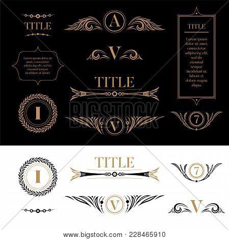 Set Of Design Elements In Retro Vintage Style. Golden Floral Ornamental Detailes, Frames, Wreaths Fo