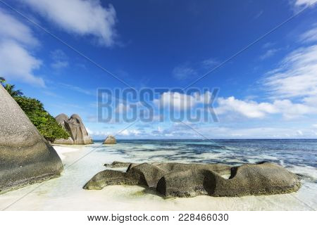 Rocks,white Sand,palms,turquoise Water At Tropical Beach,la Dique,seychelles Paradise 12