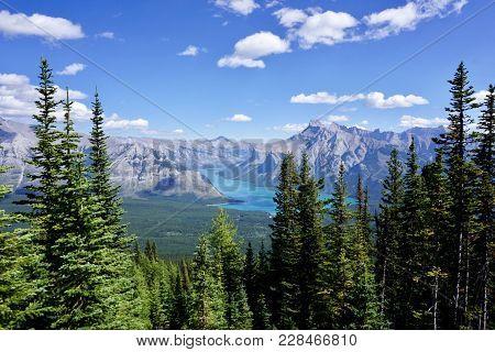 Mountains Seen Atop A Mountain In Banff National Park.
