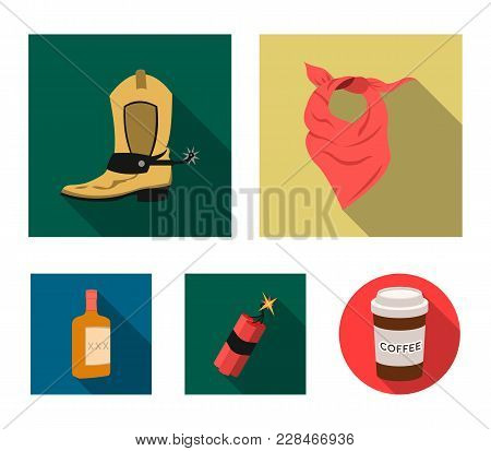 Bandage, Boots, Dynamite And A Bottle Of Whiskey. Wild West Set Collection Icons In Flat Style Vecto