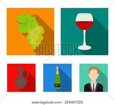 A Glass Of Red Wine, Champagne, A Jug Of Wine, A Bunch. Wine Production Set Collection Icons In Flat