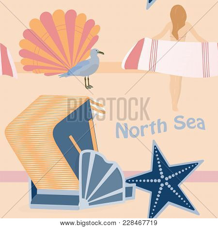 Pattern Background. Seamless Pattern Of North Sea With Shells, Girl, Sea Gull And Roofed Wicker Beac