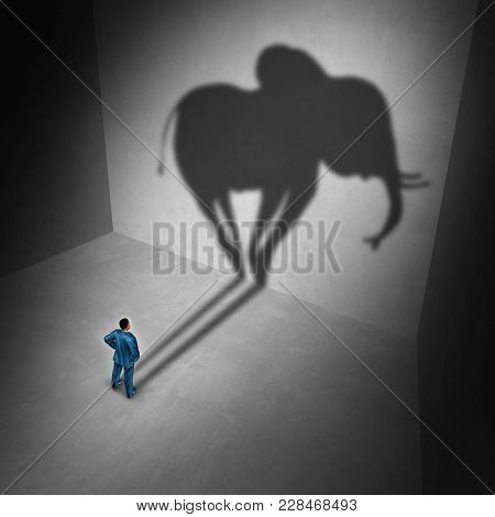 Elephant In The Room Idiom And Metaphor Problem Concept As A Person Casting A Shadow Shaped As A Hug