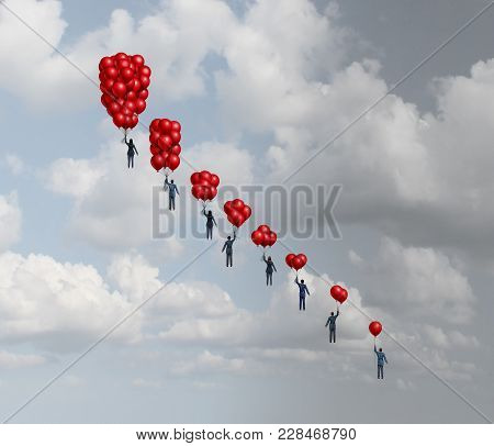 Business Decline Concept As A Group Of Business People Holding Gradual Decreasing Air Balloons As A