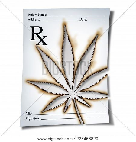 Marijuana Medical Prescription As Cannabis Prescribed By A Doctor As An Rx Note With A Leaf Burnt In