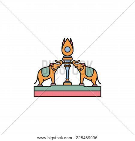 Elephants Statue Cartoon  Icon. Thailand Elephants Statue Vector Illustration Isolated On White Back