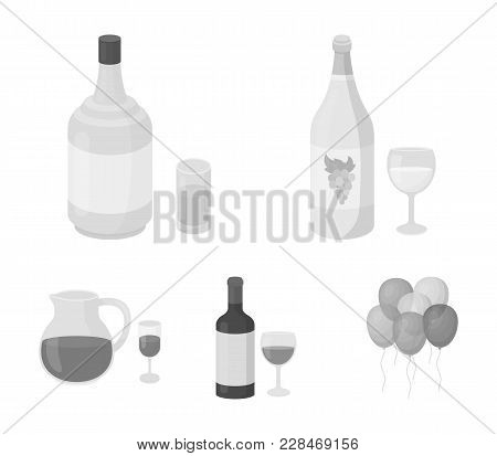 White Wine, Red Wine, Gin, Sangria.alcohol Set Collection Icons In Monochrome Style Vector Symbol St