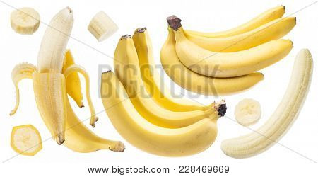 Bananas and banana slices on the white background.