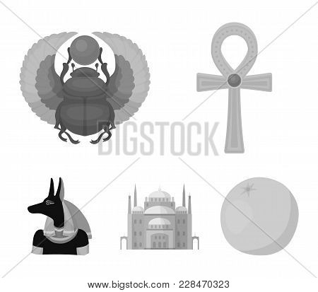 Anubis, Ankh, Cairo Citadel, Egyptian Beetle.ancient Egypt Set Collection Icons In Monochrome Style
