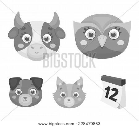 Owl, Cow, Wolf, Dog. Animal's Muzzle Set Collection Icons In Monochrome Style Vector Symbol Stock Il