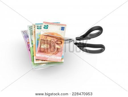 Scissors cutting money -Scissors cutting euro bills on white background, including clipping path