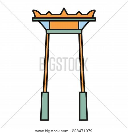 Giant Swing Cartoon  Icon. Thailand Giant Swingvector Illustration Isolated On White Background. Ele