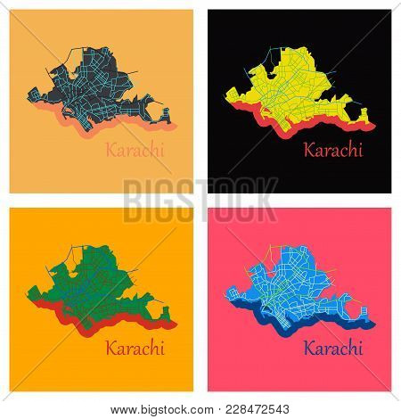 Set Of Karachi, Pakistan, Colorful Flat Map. Streets, Railways And Water. Bright Colored Landmark Sh