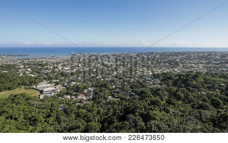 Aerial view of Puerto Plata and coast in the Dominican Republic