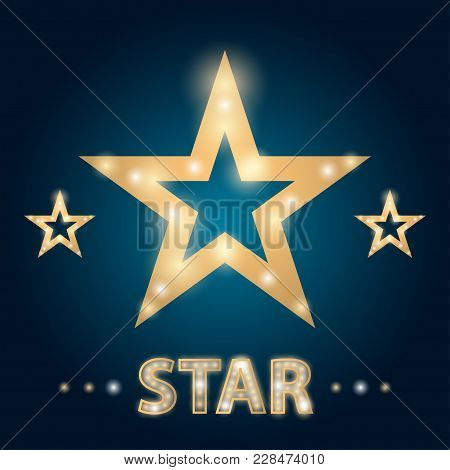 Retro Hollywood Stars Frame With Lights Vector Illustration. Template Of Banner With Bright Stars