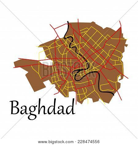 Baghdad City Map - Iraq. Flat. Isolated On Background