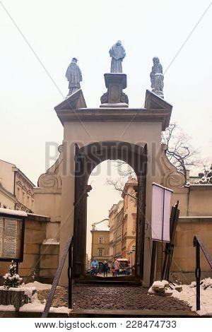 Krakow, Poland - February 12, 2018 Through A Doorway At The Saints Peter And Paul Church Krakow Pola