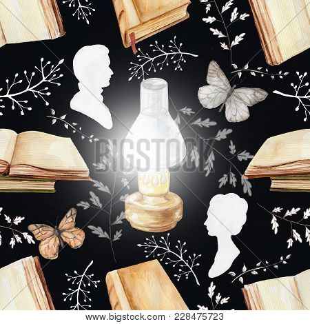 Seamless Background Pattern With Kerosene Lamp, Butterflies, Books, Twigs And Silhouettes. Watercolo