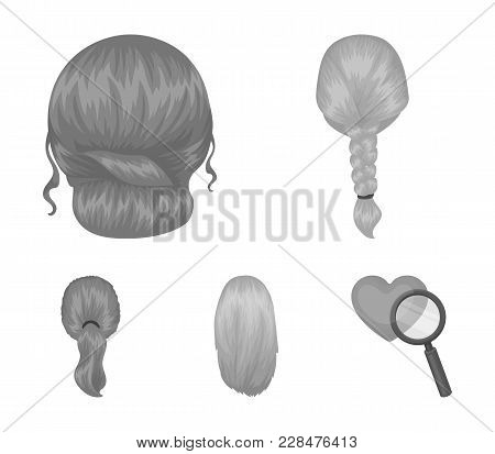 Light Braid, Fish Tail And Other Types Of Hairstyles. Back Hairstyle Set Collection Icons In Monochr