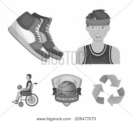 Basketball And Attributes Monochrome Icons In Set Collection For Design.basketball Player And Equipm