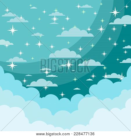 Night Sky With Shiny Stars And Clouds. Stock Flat Vector Illustration.