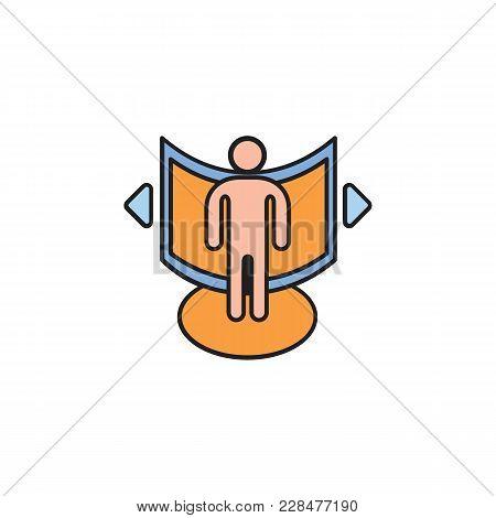 Virtual Reality Cartoon Icon. Man In Virtual Reality Vector Illustration On White Background. Elemen