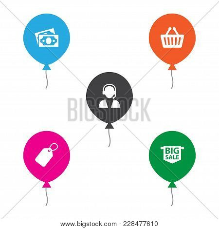 Set Of 5 Shopping Icons Set. Collection Of Price Tag, Telemarketing, Basket And Other Elements.