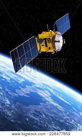 Communication Satellite Orbiting Planet Earth. 3d Illustration.