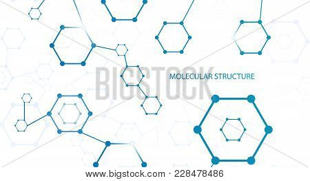 Molecular Structure Or Molecular Structural Coding Vector Illustration. Molecular Connection Genome