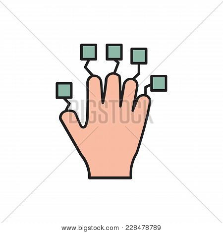 Hand Controller Cartoon Icon. Vr Hand Controller Vector Illustration On White Background. Element Fo