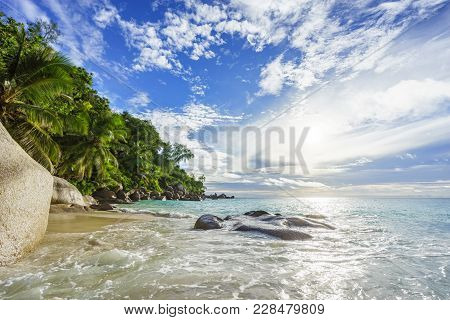 Paradise Tropical Beach With Rocks,palm Trees And Turquoise Water In Sunshine, Seychelles 30