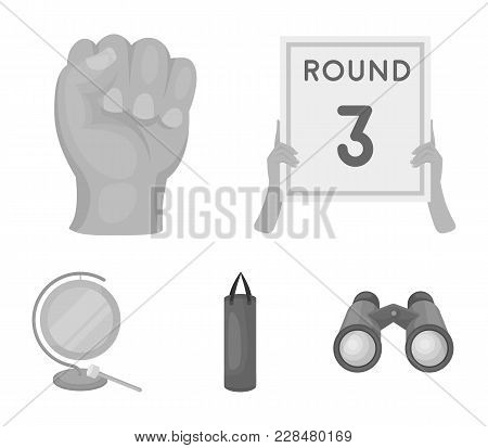 Boxing, Sport, Round, Hand .boxing Set Collection Icons In Monochrome Style Vector Symbol Stock Illu