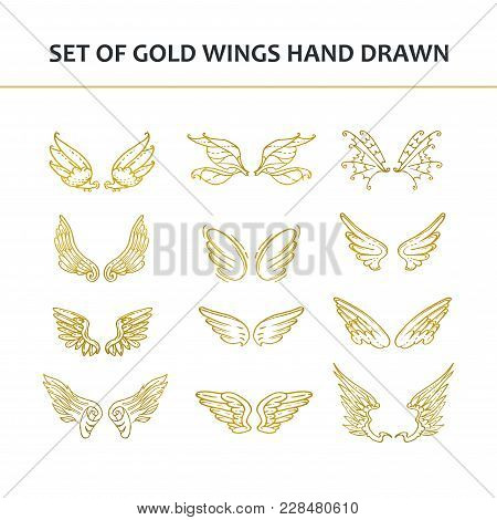 Hand Drawn Wings. Set Of Design Elements. Vector Illustration