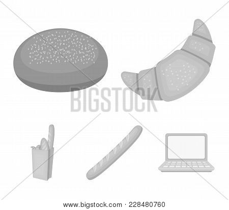 Rye Round Bread, A Croissant, A French Loaf, A Bag Of Bread.bread Set Collection Icons In Monochrome