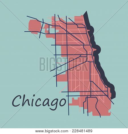 Flat Map Chicago city. Illinois Roads cartography modern travel poster