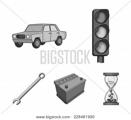 Traffic Light, Old Car, Battery, Wrench, Car Set Collection Icons In Monochrome Style Vector Symbol