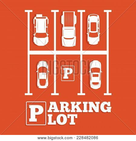 Parking Lot Banner In Minimalist Style. Top View Parked Cars In Parking Zone, Outdoor Auto Park, Fre