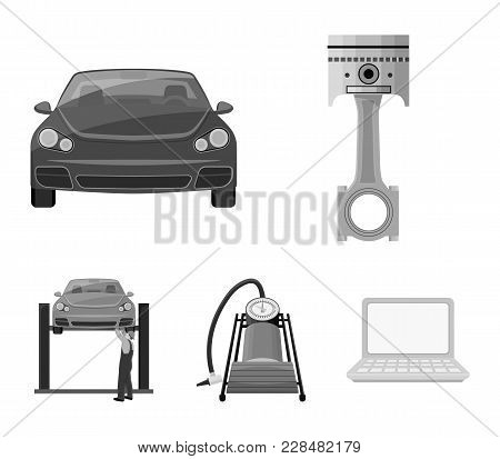 Car On Lift, Piston And Pump Monochrome Icons In Set Collection For Design.car Maintenance Station V