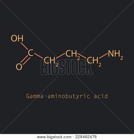 Gamma Aminobutyric Acid - Synaptic Neurotransmitter, Chemical Structure, Illustration, Vector On Bac