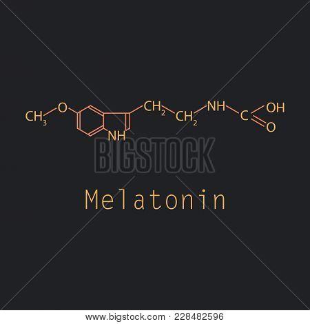 Melatonin Hormone Molecule. In Humans, It Plays A Role In Circadian Rhythm Synchronization. Skeletal