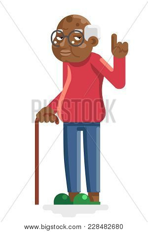 Wise Old African American European Grandfather Adult Flat Design Vector Illustration