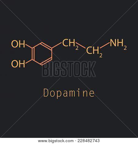 Dopamine Icon, Vector Illustration Laboratory, Molecular Medical