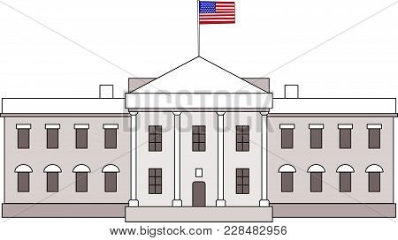 Washington Dc White House Building Outline Simple Icon With Usa Flag On It. Vector American Landmark